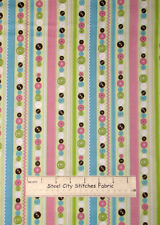 Camelot Stitched Garden Collection Button Rick Rack Stripe Cotton Fabric YARD