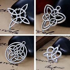 Celtic Knot Charms, 40 pc (10 of Each) Silver Tone Pendants
