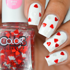 Color Club - 50 Shades of Love - Red White Hearts Glitter Nail Polish