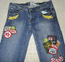 Womens Tell Patched Studded Denim Jeans Smiley Face Racing England Size 5