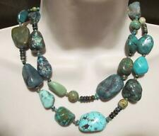 """JAY KING MINE FINDS~Double-Strand Beaded Turquoise Nugget 18"""" Necklace~NWOT"""