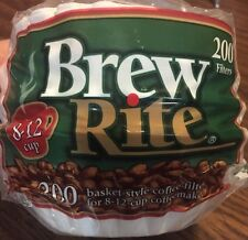 """200ct Brew Rite BASKET 8-12 cup Paper COFFEE FILTERS 3 1/4"""" Round Base"""