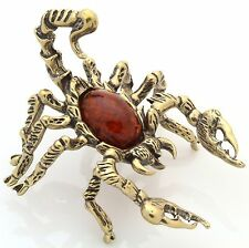 Cognac Baltic Amber Scorpion Solid Brass Insect Figurine Sculpture