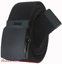 "NEW 1.5"" inch WIDE ADJUSTABLE 56"" CANVAS MILITARY WEB GOLF BLACK BELT BUCKLE"