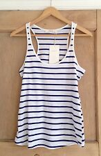 ZARA top size M 10 White BLUE NAUTICAL Stripe BNWT
