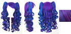 20'' Lolita Wig + 2 Pig Tails Set Purple, Blue Mix Blend Cosplay Gothic Sweet