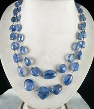 A+OLD ESTATE NATURAL BLUE SAPPHIRE TUMBLE LONG BEADS NECKLACE WITH DIAMOND CLASP