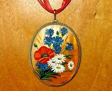 Russian hand painted SHELL in German Silver PENDANT WILD POPPY & FLOWERS signed