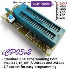 iCP03v2 Microchip Multi PIC & EEPROM (24LCxx/25LCxx) Zif Adapter for PICKit2 SW