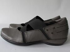 Aetrex Julie Gray Leather Lightweight Memory Foam Stretch Mary Jane Shoes, 8.5