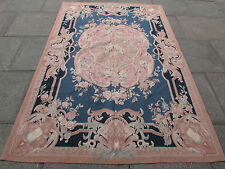 Old Hand Made French Design Original Wool 8 x 5 Pink Blue Aubusson 248X165cm