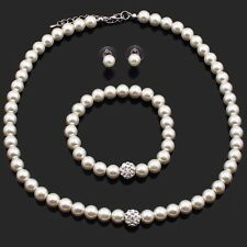 Wedding Jewelry Set, Bridal Jewellery, Pearls, Necklace, Bracelet and Earrings