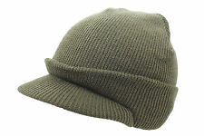 US Army Style Cadet Olive Peaked Jeep Cap Fine Knitted Winter Peak Beanie Hat