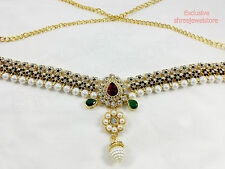 Gold Plated Diamonds Kundan Hip Waist Belly Dance Belt Kamar bandh Patta Jewelry