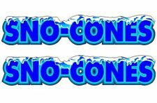 2 Sno-Cone 2.5''x13'' Decals for Concession Shaved Ice - Snow Cone Trailer Stand
