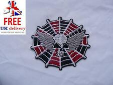 Skull Wing Spider web Iron-on/sew-on Embroidered Patch Motorcycle Biker