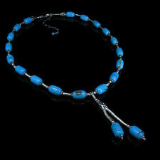 .925 Sterling Silver Natural Blue Turquoise Necklace