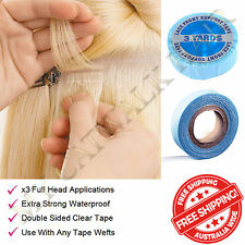 Blue Double Sided Clear Waterproof Tape Skin Weft Hair Extensions Holds 3 Months