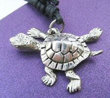 Pewter Miniature Baby Turtle Animal Charm Pendant Jewelry Black String Unisex FS