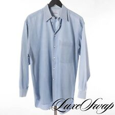 Lorenzini Made in Italy Washed Pale Denim Blue Weekend Country Shirt 15 NR WOW