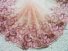 """1Yard ~7.5""""~Venise Embroidered Lace Trim Flower Wedding Doll Dress Maroon White"""
