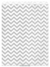 "100 Flat Merchandise Paper Bags: 8.5 x 11"", Silver Gray Chevron Stripes on White"