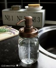 Ball Mason Jar Rustic Glass Soap Dispenser with Antique Copper Pump and Lid *UK