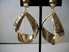 "2"" gold textured thick hoops clip on earrings basketball wives non pierced"