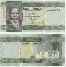 South Sudan 1 Pound 2011 P-5 UNC Uncirculated Banknote - Giraffe