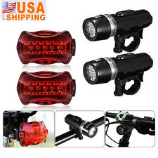 2 x Waterproof 5 LED Lamp Bike Bicycle Front Head Light + Rear Safety Flash