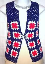 S M L Sears VTG 70s red white blue festival hippie crochet funky vest shirt top