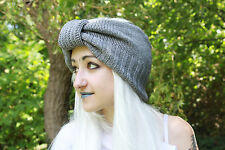 LIGHT GRAY CHUNKY VTG KNIT BOHO 50S STYLE FESTIVAL INDIE GRUNGE WINTER HEAD BAND