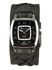 Nemesis Unisex Classic Vintage Watch + Faded Black X Leather Cuff Band