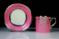 ART DECO AYNSLEY DEMI TASSE CUP & SAUCER PINK & SILVER OVERLAY C.1890-1930