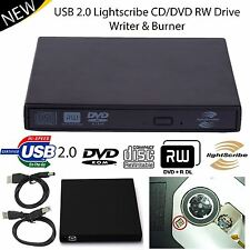 Esterno USB 2.0 Drive LIGHTSCRIBE CD DVD RW Scrittore Bruciatore per PC portatile UK Shop