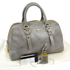 Auth PRADA Hand Tote Bag CERVO LUX ASTRO Metallic Gray Leather BL0471 NR07525