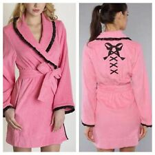 Betsey Johnson Pink/Black Corset Back Tied And True Robe-NWT-M