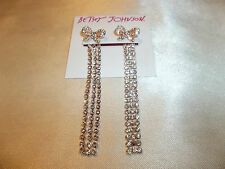 Betsey Johnson Princess Charming Two Way Crystal Waterfall Earrings Bow NWT $40