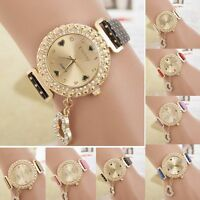 Fashion Bling Crystal Women Lady Girl Analog Leather Quartz Watch Gift