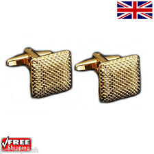 Cool Men's Women's Classic Gold Square Cufflinks Novelty Design Cuff-links