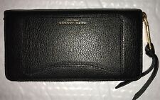 NWT Marc Jacobs Recruit continental zip around Leather wallet Black And gold