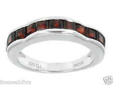 STERLING SILVER JANUARY GARNET BAND RING! STACK RING! SIZE 8! FREE SHIP!