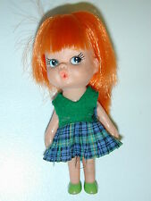 """Vintage My-Toy Tiny Terry Doll Straight Red Hair Japan 1966 4"""" tall Play Toy"""