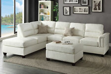 Living Room Sectionals 3pc Sectional Sofa Set White Bonded Leather Sofa Chaise