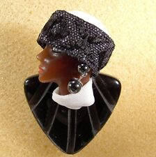 LADY HEAD Ethnic woman FACE brooch Pin Porcelain-Look Resin Figural Handmade