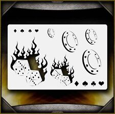 """Flaming Dice"" Airbrush Stencil Template Airsick"