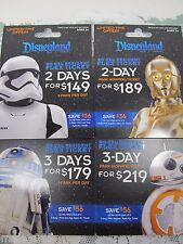 """""""NO CASH VALUE""""  4 Disneyland Star Wars Park passes cards set with Card Holder"""