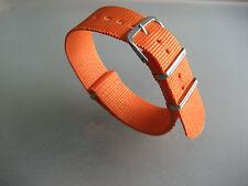 Nato Band Durchzugsband Textil orange silberfarbene Dornschließe 22 mm