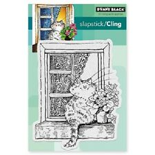 PENNY BLACK RUBBER STAMPS SLAPSTICK CLING THE LOOKOUT NEW CAT STAMP 2016