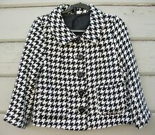 H&M 100% Cotton Black and White Houndstooth 3/4 Sleeve Blazer Jacket Wms 8